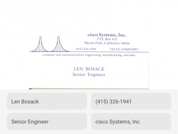 Personal details from visiting card image correctly extracted and transcribed by OCR tool