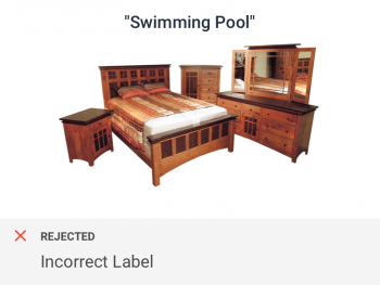 Bedroom incorrectly categorized as swimming pool hence flagged by category and tag checks for real estate