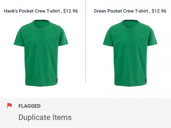 Two duplicate green shirts flagged by deduplication checks for ecommerce