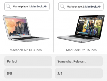 Text search results for same laptop in two competing marketplaces are rated based on relevancy by text search benchmarking
