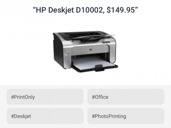 Printer correctly enriched with attributes like model and function by listings tagging for electronics