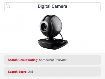 Search for digital camera returns somewhat relevant product and hence rated below average by ecommerce search for electronics