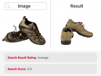 Image search for brown shoes returns similar product and hence rated average by ecommerce search for fashion