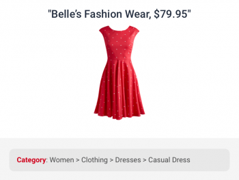 Red colored fashion wear correctly categorized under women's casual dress by data categorization for ecommerce