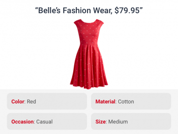 Red dress correctly tagged with attributes like color and size by listings attribution for ecommerce