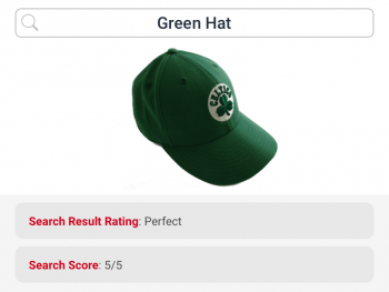 Text search for green hat returns correct product and hence rated perfect by ecommerce search for fashion
