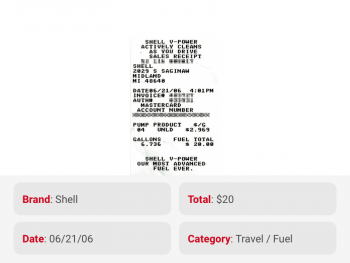 Details from receipt image correctly tagged and transcribed by OCR tool