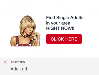 Banner ad containing adult content flagged by ad quality checks for social networks