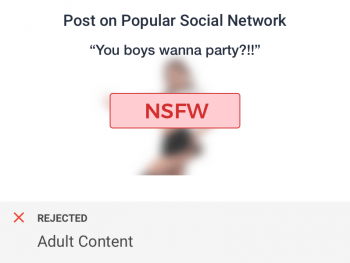 Comment with adult text and image flagged by adult content checks for social networks