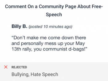 Bullying and hate speech in user comment for a community flagged by bullying and hate speech checks for social networks