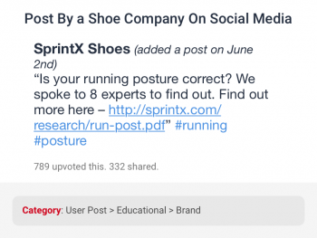 Social media post on running posture by a shoe brand company correctly categorized as educational user post by data categorization for social networks