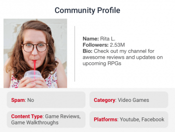 User gaming profile tagged with attributes like platform and content type by tagging and enrichment for social networks