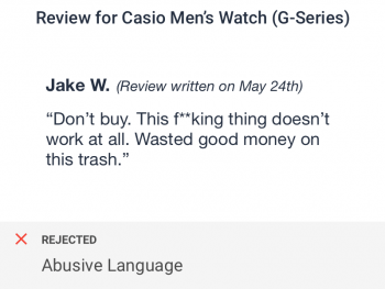 Abusive language in user generated review of a men's watch flagged by text review checks for ecommerce